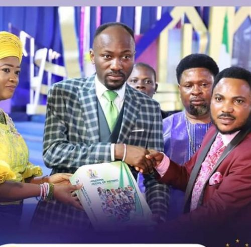 Apostle Suleman Inducted As Fellow of Nigerian Books of Record